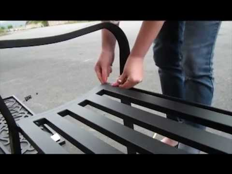 Black Metal Garden Bench Seat Outdoor Seating With Decorative Cast Iron Backrest<a href='/yt-w/ukWiFSUf0_U/black-metal-garden-bench-seat-outdoor-seating-with-decorative-cast-iron-backrest.html' target='_blank' title='Play' onclick='reloadPage();'>   <span class='button' style='color: #fff'> Watch Video</a></span>