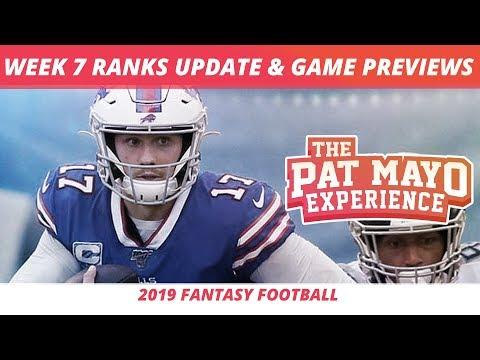 2019 Fantasy Football Week7Rankings Update Live — DraftKings Picks, Injuries & Viewer Chat