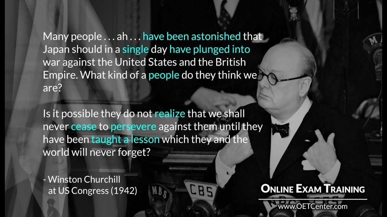 English Vocabulary In Quotes Winston Churchill Speaking At Us Congress