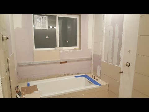 Grout Shower Floor, Tile Tub and Walls, Mosaic tile. Bathroom Remodeling. Part 19.