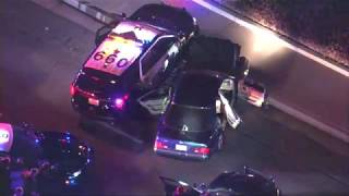 POLICE CHASING a suspect who's HOOD is up & folded over the windshield!