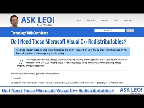 Do I Need These Microsoft Visual C++ Redistributables? - Ask Leo!