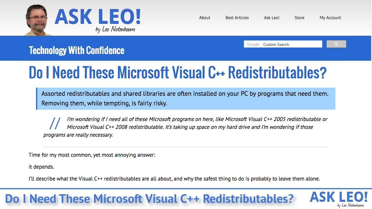which microsoft c++ redistributable do i need