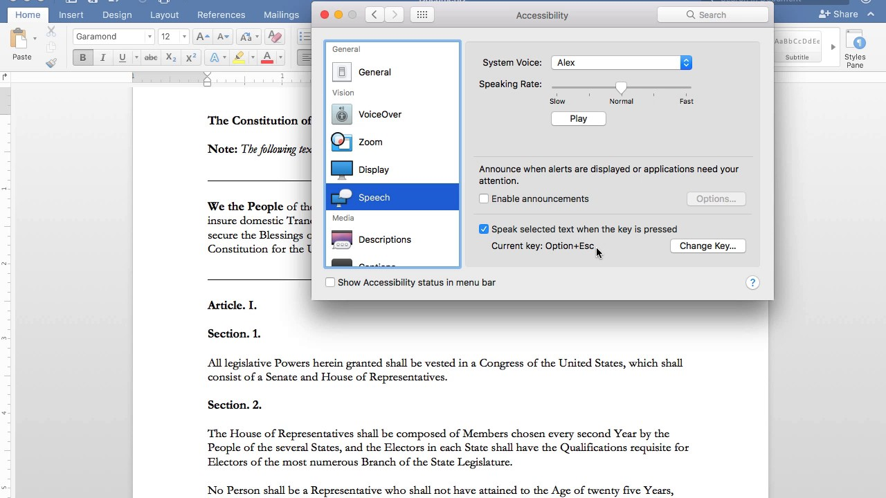 Enabling Text to Speech in Word 2016 for Mac - YouTube