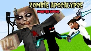 Monster School [Part 1]  ZOMBIE APOCALYPSE HEROBRINE EPIC BATTLE - Minecraft Animation