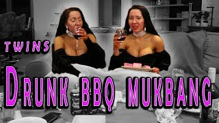TWINS GET DRUNK BBQ MUKBANG| Eating Show| ANNA AND LUCY