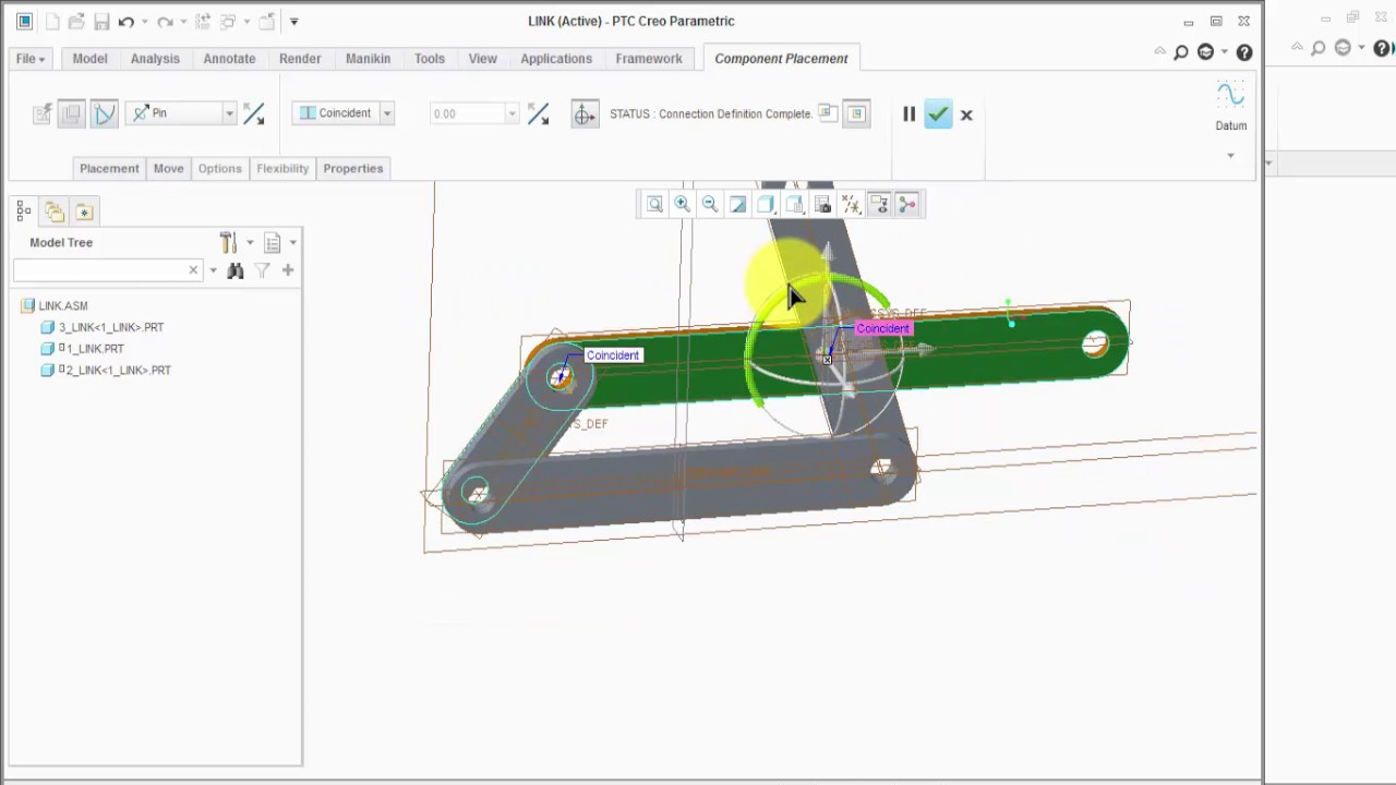 small resolution of 4 bar link assembly create with mechanism in creo 3 0