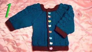 Вязание спицами детской кофточки на 1 - 1 год 3 мес.