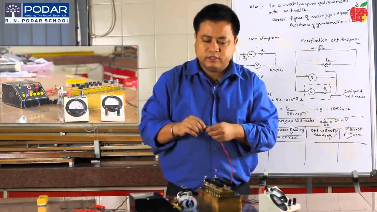 class xii phyzics lab to convert the galvanometer into volt meter [ 1280 x 720 Pixel ]