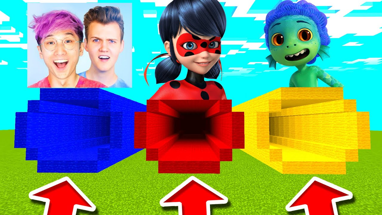 Minecraft PE : DO NOT CHOOSE THE WRONG MYSTERY TUNNEL! (Evil Lankybox, Luca & Ladybug)