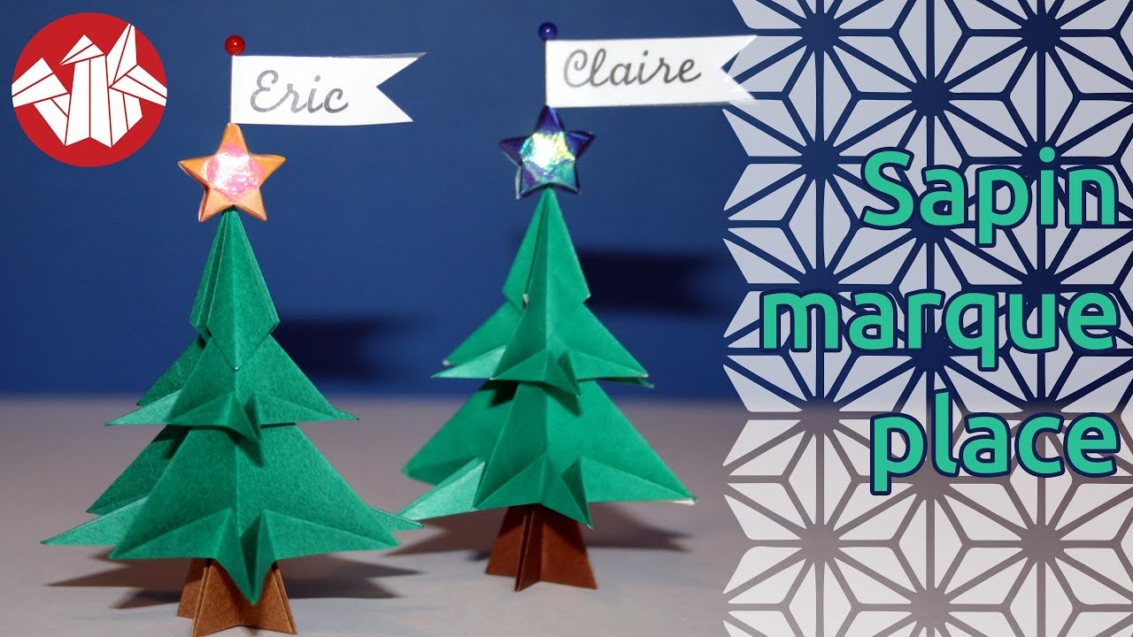 Origami mini sapin marque place christmas tree table - Marque place noel a imprimer ...