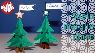 Origami - Mini-sapin Marque-place - Christmas Tree Mark-up