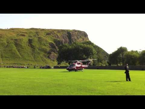 The Queen leaving Edinburgh by helicopter