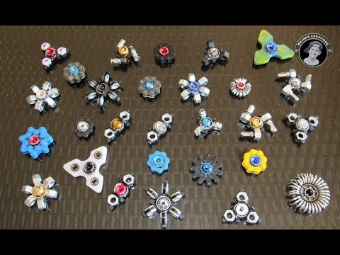 My Home Made Fidget Spinner Collection Review and Spin Test - DIY Spinners