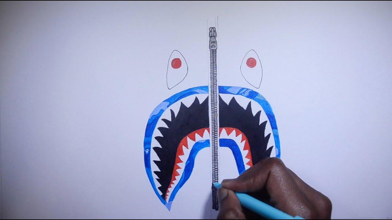 HOW TO DRAW BAPE SHARK EXACT COLOURS