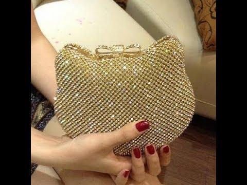 New Women's Shiny Rhinestones Hello Kitty Clutch Sided Full Diamond Evening Bag Wedding Party Handba