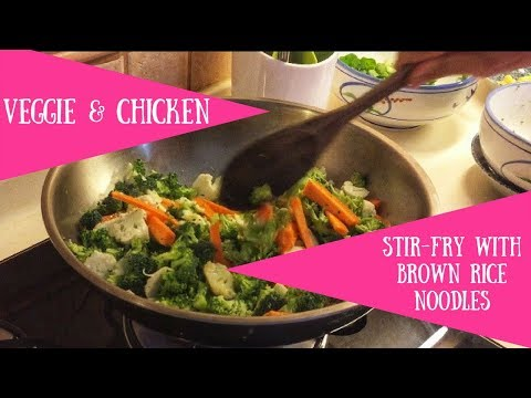 Veggie And Chicken Stir-fry With Brown Rice Noodles