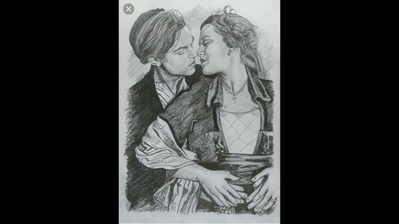 How to draw a titanic couple jack and rose romantic scene pencil sketch easy drawing tutorial