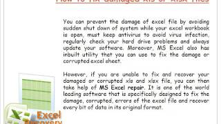 How to recover damaged xls and xlsx file