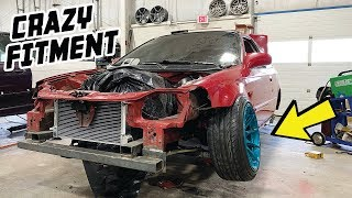 honda-civic-front-suspension-completely-converted-to-240sx-remaking-the-strut-tower
