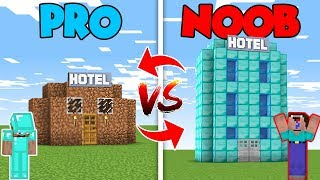 Minecraft NOOB vs. PRO : HOTEL HOUSE BUILD in Minecraft (Compilation)