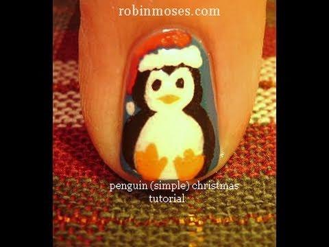 christmas penguin nail art vintage