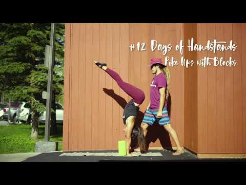 Pike Ups with Blocks | YogaSlackers 12 Days of Handstands