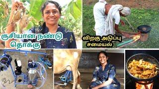 பால் கறக்க புதிய Machine வாங்கியாச்சு💃 Nandu thokku |Planting in back garden | Nithu got fractured 🙄