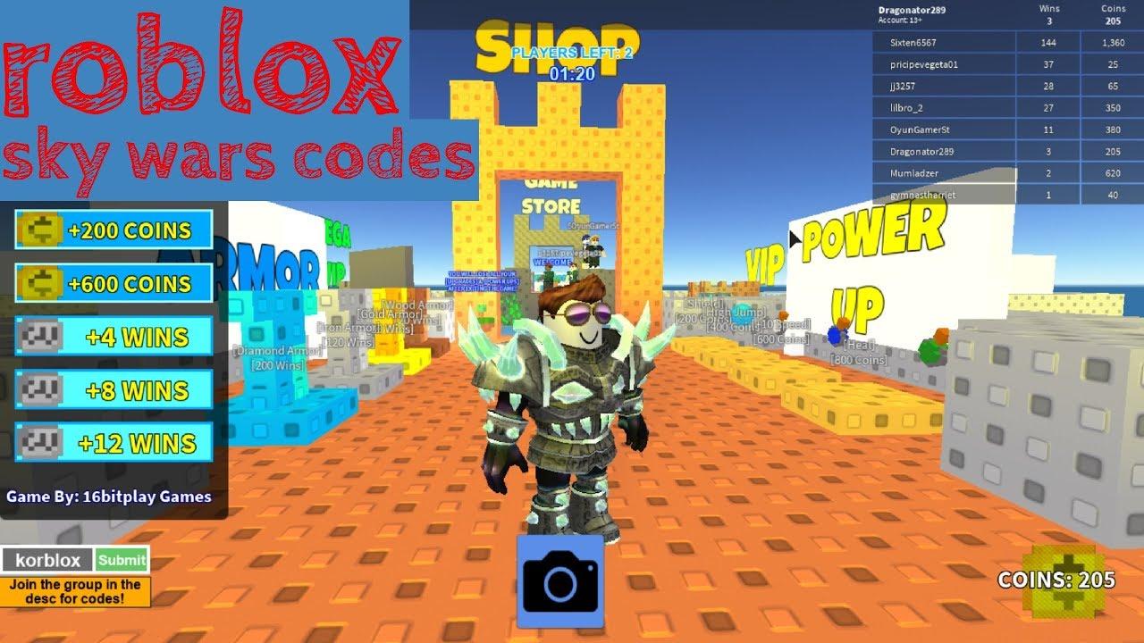 skywars roblox codes - YouTube