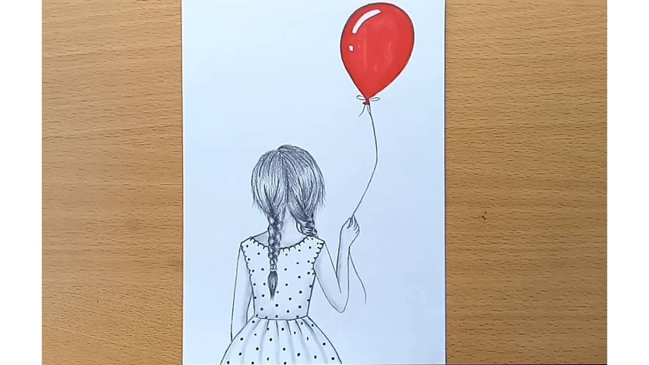 How to draw a girl with balloon step by step very easy