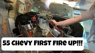 55 Chevy Comes to Life! - First Start of the 454 Big Block Chevy