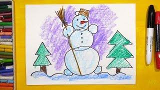 Как нарисовать Снеговика. Урок рисования для детей от 3 лет | Раскраска для детей