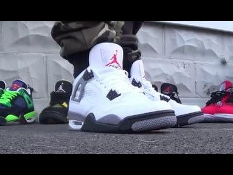 4a34d974e59d8 Air Jordan 4 IV White Cement Shoes On Foot - YouTube