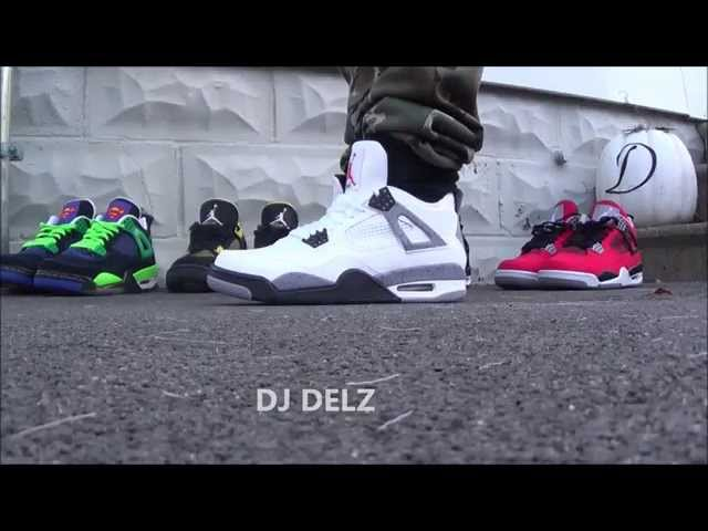 best website 1e076 0a351 Air Jordan 4 IV White Cement Shoes On Foot - YouTube