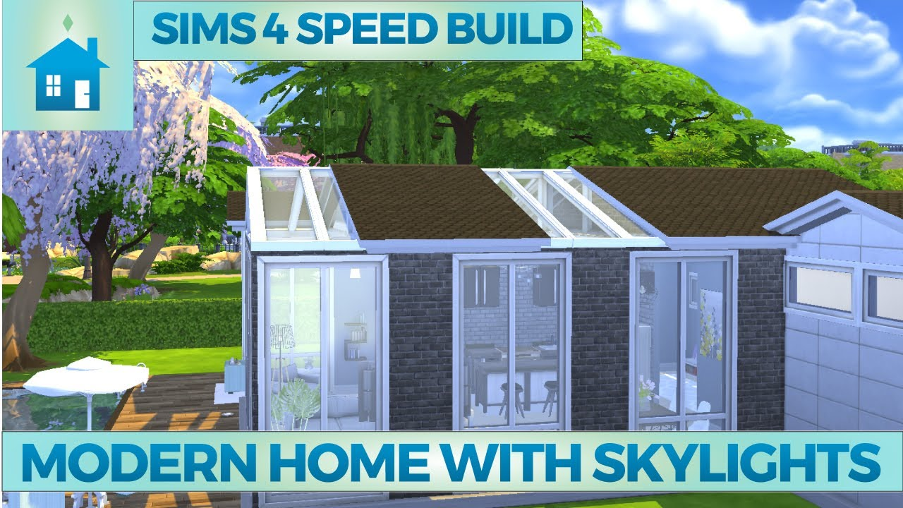 The Sims 4 Speed Build Modern Home With Skylights Youtube