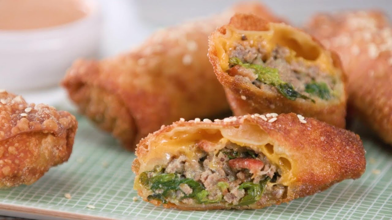 cheeseburger egg rolls with