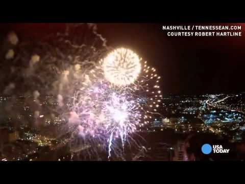 Watch what happens when a drone flies into fireworks