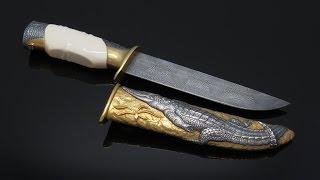ALLIGATOR. Охотничий нож авторской работы. FORGING DAMASCUS STEEL.(Охотничий нож