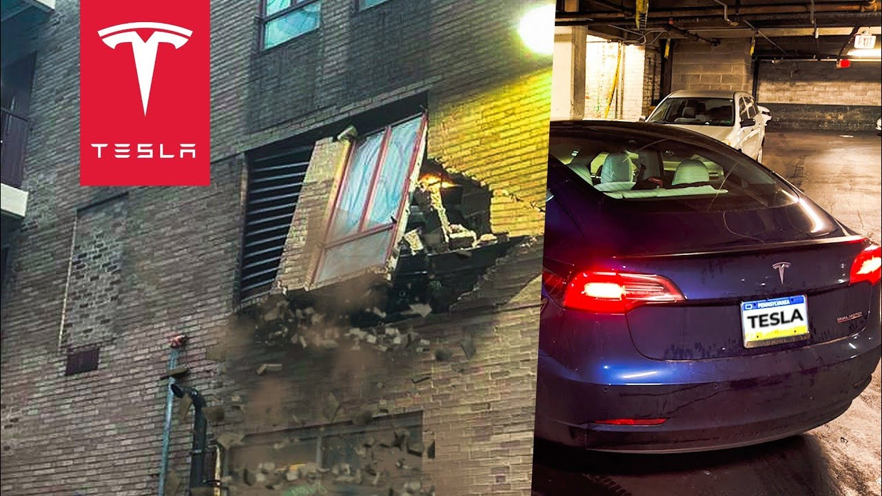 VALET DRIVER CRASHES A TESLA MODEL 3 PERFORMANCE THRU A WALL; BLAMES AUTOPILOT | TESLACAM STORY #4