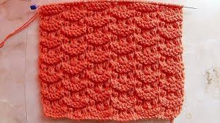 Ажурный узор ракушками Вязание спицами Видеоурок 144