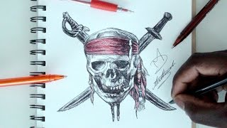 SKETCH SUNDAY #28 - How To Draw Pirates Of The Caribbean Logo - DeMoose Art