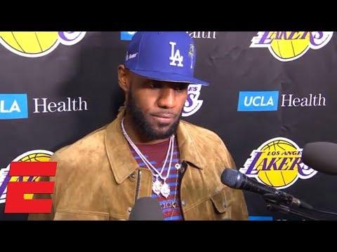 LeBron James on Rockets vs Lakers brawl, Staples Center debut | NBA Interview