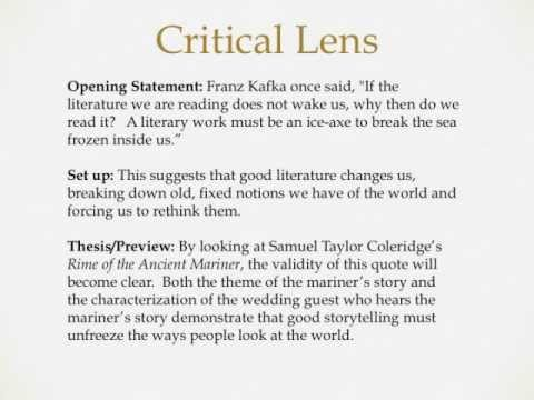 Critical lens essay writing youtube