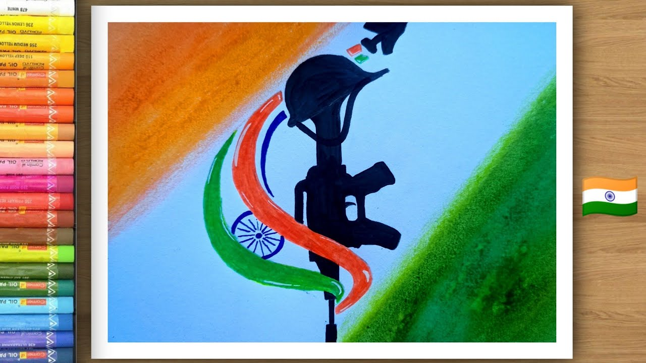 How to draw republic day drawing easily with oil pastel.