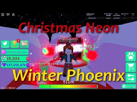 Nub with Winter Pheonix, Christmas Elemental, and Peppermint Hydra! Unlocked In Bubble Gum Simulator