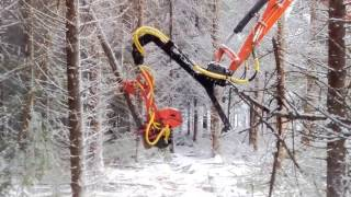 Winter time felling with Naarva S23C stroke harvester and excavator