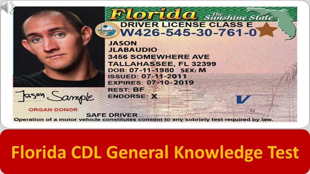 How To Get A Florida Drivers License >> Florida CDL General Knowledge Test - YouTube