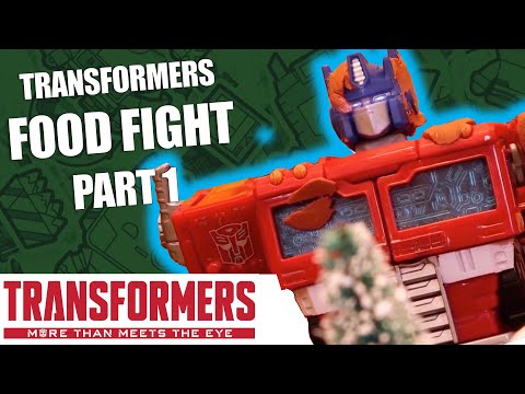 Transformers Holiday Food Fight! Stop Motion - Part 1: War For Cybertron Celebration