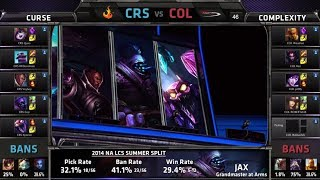 Curse vs compLexity | S4 NA LCS Summer split 2014 W6D2 | CRS vs COL G4 Full game HD
