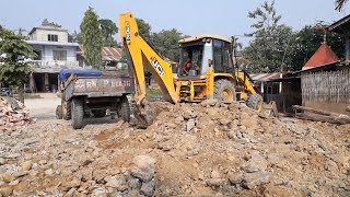 JCB Digger Loading Stones and Mud in Tractor - JCB VIDEO 3